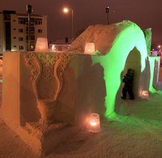 Beautiful snow sculptures in Kajaani.