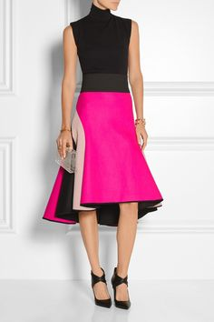 MILLY Asymmetric melton wool-blend and satin skirt. Hot pink, blush and black. Fantastic!!!! Love this while look!!