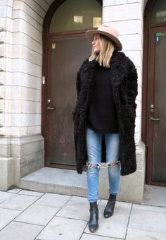fur + fedora + ripped denim