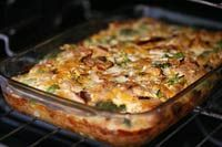 As-You-Like-It Breakfast Casserole - whatever is leftover in the fridge bound together with eggs.....