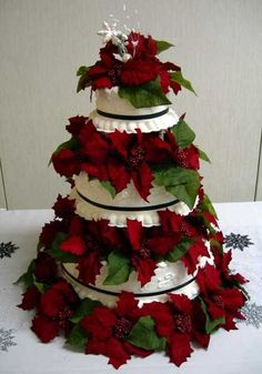 Your favorite cake with white fondant icing and artificial poinsettia's.  Inspiration picture.  Simple to spectacular.