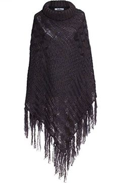 BodiLove Womens High Collar Batwing Pullover Cable Knit Sweater Poncho w Fringe Royal Blue OS * You can find out more details at the link of the image.