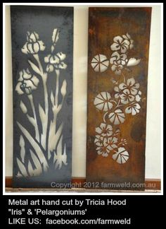 Metal hand cut panels, wall or freestanding by Farmweld. These would look gorgeous once rusted up in the garden.