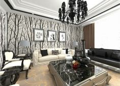 Abstract tree wallpaper for Nordic Europe interior decoration