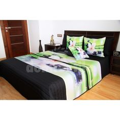 Zeleno čierne prehozy s bambusom a orchideou - domtextilu. Bed, Furniture, Home Decor, Bamboo, Decoration Home, Stream Bed, Room Decor, Home Furnishings, Beds