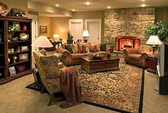 den decorating ideas | above the lower level family room is a large area decorated in warm ...
