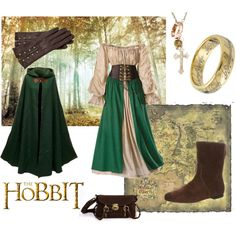 With it's long green cape and warm leather boots, this Hobbit inspired outfit found on Polyvore is sure to please any Hobbit lass in want of the perfect fall outfit to wear around the Shire.