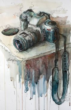 ideas for beautiful art drawings sketches perspective Art Aquarelle, Art Watercolor, Art And Illustration, Painting Inspiration, Art Inspo, Camera Art, Camera Painting, Camera Drawing, Camera Icon