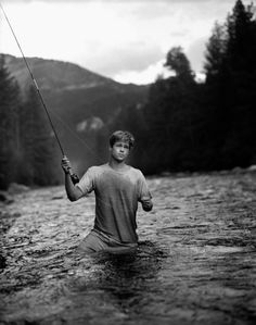 """Brad Pitt, A River Runs Through It."" Gallatin River, Montana Photograph (c) George Holz/All Rights Reserved Untitled, (Po. Junger Brad Pitt, Actrices Hollywood, Looks Black, Gone Fishing, Fishing Hole, Trout Fishing, Film Movie, My Idol, Beautiful Men"