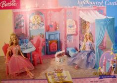 """Barbie Fantasy Tales ENCHANTED CASTLE Playset PALACE w MUSICAL Dance Stand, CANOPY Bed & MORE! (2004) by Mattel. $449.99. Barbie Fantasy Tales Enchanted Castle is a 2004 Mattel production. For Ages 3+ Years. Set REQUIRES 2 """"AAA"""" Batteries (NOT included). Includes: Enchanted Castle, Canopy Bed for Princess Doll to Dream in, Vanity to make Princess Doll Beautiful, Musical Dance Stand for Princess to Dance with Handsome Prince, Blue Birds that help Reveal 7 Hiding ..."""