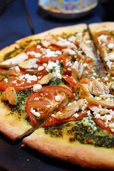 Chicken Pesto Pizza..  delicious    recipe:  http://penniesonaplatter.com/2010/09/16/buffalo-chicken-bites/
