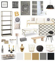 black white gold living room decor #brownsofalivingroomideas
