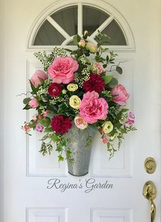 Summer Wreath for Front Door-Spring Door Basket-Rose and Peony Wreath-Wall Basket-Floral  Arrangement-French Country Wreath-Farmhouse Decor