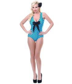 16dccc493e457 50's Style Turquoise & Black Bow Tank One Piece Swimsuit Bow Bathing  Suits, Vintage
