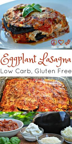Eggplant Lasagna with Scratch Made Meat Sauce. A deliciously cheesy and saucy low carb lasagna without all the gluten and carbs!