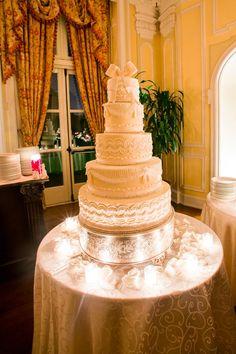 #Wedding Cake #Reception #Candles #White