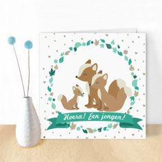 Cute birth-card for boys with foxes, ofcourse in different shades of blue, designed by Oktoberdots