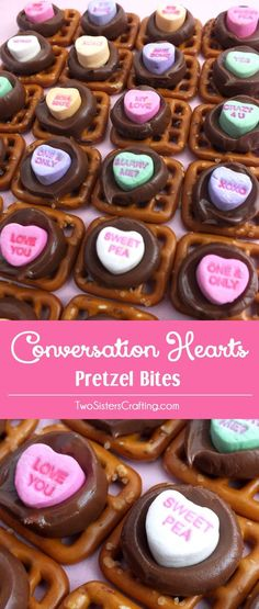 Conversation Hearts Pretzel Bites - we've taken an iconic Valentine's Day candy - Conversation Hearts - and turned them into a unique Valentines Day Treat. Sweet, salty and delicious, these are definitely a fun Valentines Day food idea. What a fun way to tell someone that you love them! Pin this adorable Valentine's Day Dessert idea for later and follow us for more great Valentines Day Food ideas.