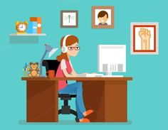 Freelance woman working at home @creativework247