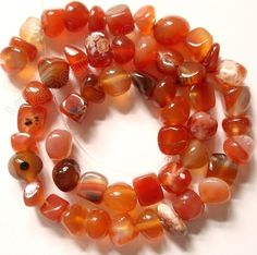 Natural Carnelian - Round Chip Nuggets 16""