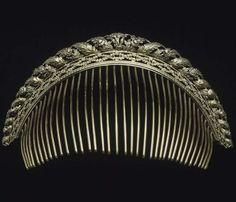 Gold comb tiara, 1809 belonged to Cts Villeneuve-Esclapon in the Empire