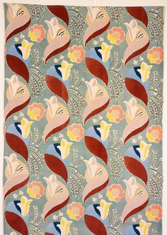 Flowers and Leaves 1936 - screen printed cotton velvet tapestry design by Duncan Grant - originally commissioned for Cunard's ocean liner RMS Queen Mary