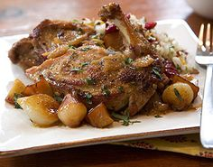 Cider-Braised Pheasant with Pearl Onions and Apples Recipe | Epicurious.com