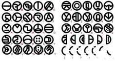 "The Umbara alphabet was the written form of Umbaran, the language spoken by the species of the same name. It consisted of 26 letters, with a number of additional symbols for digits and punctuation marks. The basic shape of each letter or symbol was a circle or segment of circle, adorned with various dots, lines and other internal features. Chris Glenn developed a complete Umbara alphabet for the Star Wars: The Clone Wars episode ""Carnage of Krell""."