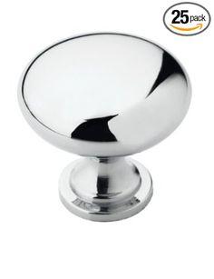 $23 or .92 cents/knob  Amerock BP5300526 Allison Value 1-1/4in(32mm) DIA Knob - Polished Chrome - 25 Pack