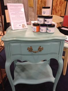 Small French Provincial Nightstand paint with Chalk Paint® in Provence, and Clear Waxed by TLC Design Studio.