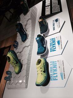 Nike Free 3.0 Flyknit retail table display sports shoe display.