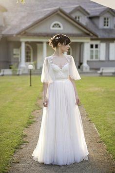 Grace  flutter sleeve wedding dress / slit wedding dress /