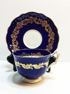 Aynsley Tea Cup and Saucer Cobalt Lacy Gold
