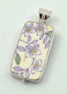 Broken China Pendant. Purple Flowers Pendant.  Rhodium Plated Pendant. Vintage China.