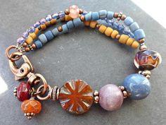 Ceramic, Lampwork glass, Czech glass, stone and copper metal bracelet. - McKee Jewelry Designs