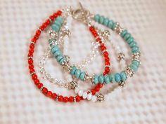 Etsy find:  Boho Bracelet, Czech Glass, Coral, Howlite Turquoise, Chain Layered Beaded Bracelet. OOAK Handmade Bracelet