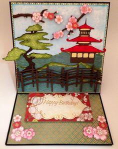 Easel birthday card made with Pagoda Cricut cartridge