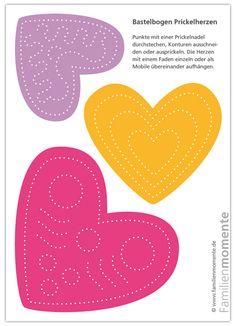 Herzen-Mobile zum Prickeln - Pink/Orange/Lila - Bastelbogen zum Prickeln - ein schönes Muttertagsgeschenk