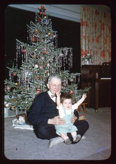 "lostslideshows: ""Christmas with Grandpa - Christmas 1954 "" Vintage Christmas Photos, Old Fashioned Christmas, Christmas Past, Merry Little Christmas, Vintage Christmas Ornaments, Retro Christmas, Vintage Holiday, Christmas Pictures, Christmas Stuff"