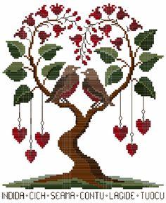 San valentino [valentines day], designed by renato parolin Cross Stitch Tree, Cross Stitch Heart, Cute Cross Stitch, Cross Stitch Samplers, Cross Stitch Flowers, Cross Stitch Designs, Cross Stitching, Cross Stitch Embroidery, Embroidery Patterns