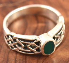 Celtic Sterling Silver and Jasper Ring, Size 8.25