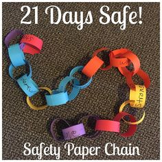 Three weeks ago, a kiddo indicated a strong desire to refrain from self-harming behaviors (a long hx of SIB). On that day, the kiddo made the first link of their safety chain: for every safe day, the kiddo would add a colored link with a word describing how the kiddo feels to remain safe. On the days the kiddo engaged in self-harm, a white link would be added and an alternative safe coping strategy for use would be written. Flash forward to today: TWENTY-ONE colorful links; 21 days safe…