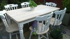 Stunning  Shabby Chic Chunky Farmhouse Dining Table And 6 Chairs Wood White