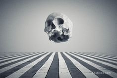 """Oblique"" - Skull floating over striped wooden decking in blue monotone. Surreal dark art by Joseph Westrupp, bestilled.com. Click the image to buy a giclee print (options include frames, canvases, metal prints, and more). Thanks very much for looking."