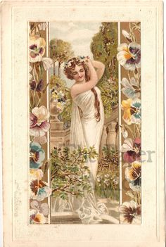 Art Nouveau Woman in Garden Pansy Border Antique Vintage French Litho Postcard | eBay