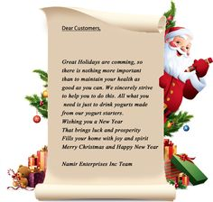Letter from Santa on be half of coming holidays!!..:http://homemadeyogurts.com/