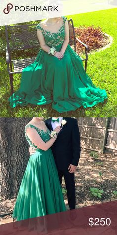 Green Sherri Hill Prom Dress!! A beautiful flowy emerald green Sherri Hill prom dress, with a nude mesh like top and a small slit on the left leg. SIZE 10. Only worn once and in beautiful condition OPEN TO OFFERS Sherri Hill Dresses Prom