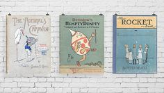 Vintage Book Cover Wall Art by anewalldecor