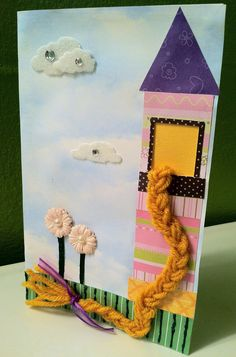 Handmade Rapunzel Birthday Invitation or Card - Inspired by Disney's Tangled. $7.00, via Etsy.