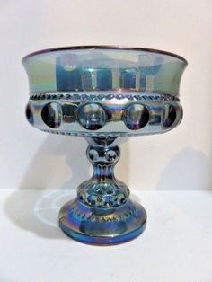 Indiana Glass Iridescent Blue Carnival Glass Kings Crown Compote Open Candy Dish #IndianaGlass